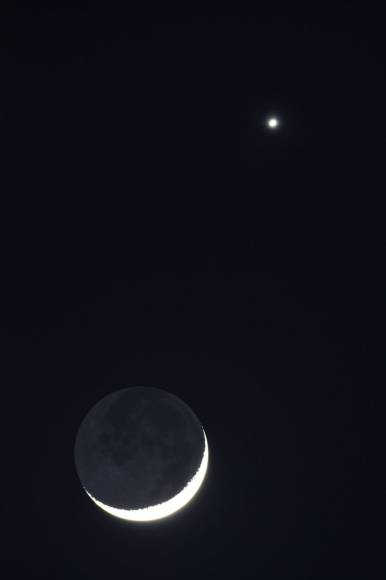 Moon and Venus and Earthshine